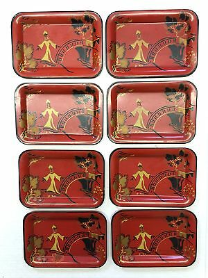 Social Supper Metal Trays 8 Asian Orange-Red Black Gold Vtg MCM Chinoiserie
