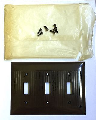 Ribbed Bakelite Triple Switch Plate Covers Brown Vtg NOS Screws