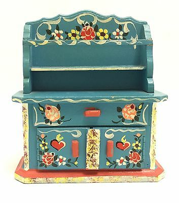 Dora Kuhn Dollhouse Furniture Painted Blue China Cupboard W. Germany Vtg 60s