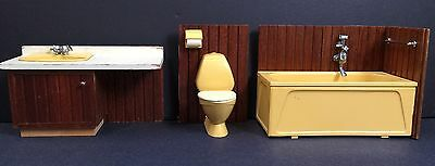 Lundby Bathroom Fixtures Vtg Plastic Wood Dollhouse Toilet Sink Tub