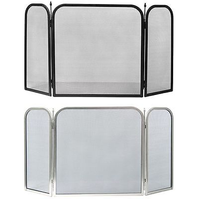 Roxby Fire Screen Square 3 Panel Black Nickel Spark Cover Fireside Protector