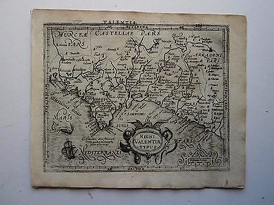 SPAIN VALENCIA Mercator Hondius 1607 orig. antique map