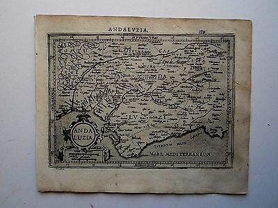 SPAIN Andalucia Gibraltar Mercator Hondius 1607 orig. antique map