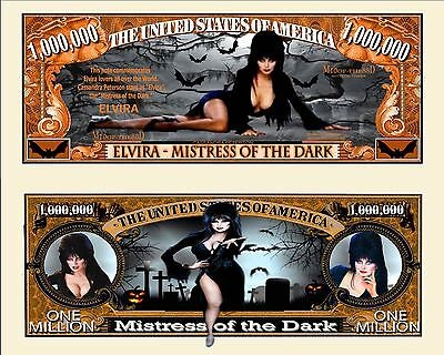 Elvira Mistress Of The Dark Collector Novelty Bill With Semi Ridged Bill Holder