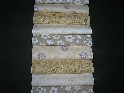 "40 x 4"" CHARM PACK CREAM FLORAL 100% COTTON PATCHWORK/QUILTING/CRAFTS  FLC"