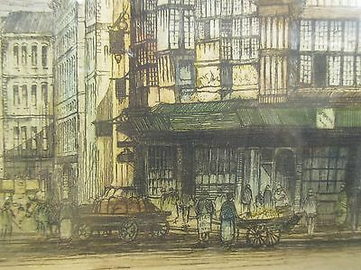 Antique Colour Etching By Edward Sharland Of Holborn London  1884 - 1967 Signed