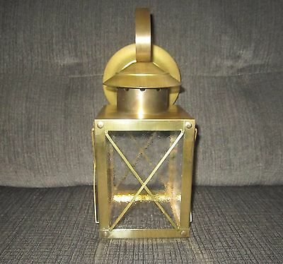 Mid Century Machine Age Carriage House Style Brass Textured Glass Panes Fixture