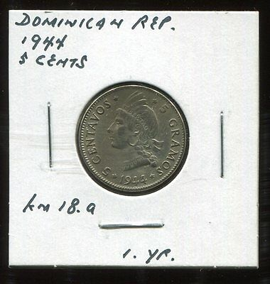 ** Dominican Republic 1944 (One Yr) 5 Cents.... **