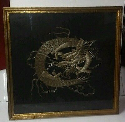 Antique Chinese framed gold & silver thread  embroidery dragon