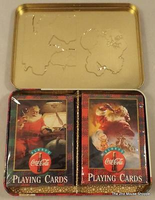 1997 Coca-Cola Nostalgia 1949 & 1951 Playing Cards In Tin Sealed