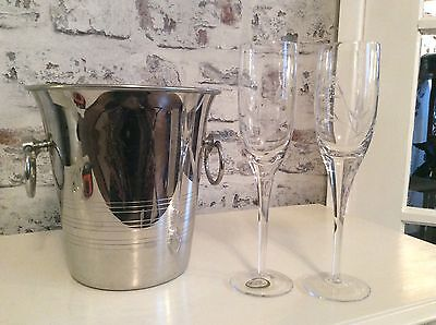 GUY DEGRENNE French champagne/Ice bucket with two crystal champagne glasses