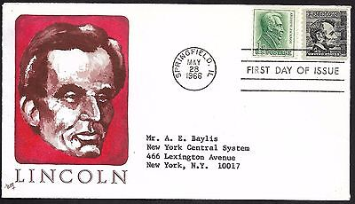 USA FDCs 1966 Abraham Lincoln Prominent American Series 175 Sign Bill of Rights