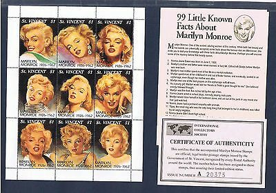 St. Vincent #2055 Marilyn Monroe SS w/COA and 99 Little known facts