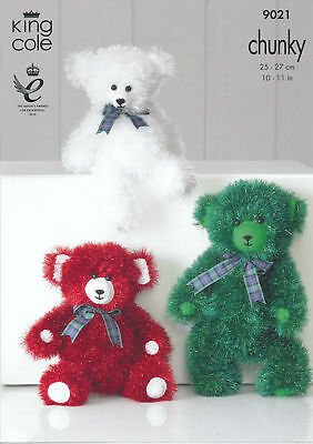 Teddy Bear Tinsel Chunky Knitting Pattern King Cole 3 Sizes Fun Animal Toy 9021