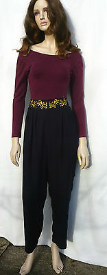 Vintage 80s Black High Waisted Tapered Gold Embroidered Trousers Hareem 12