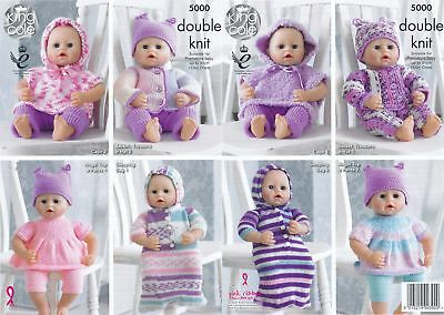 King Cole Double Knitting DK Pattern for Premature Baby or Dolls Clothes 5000