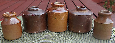 CHARMING GROUP OF FIVE EARLY STONEWARE COLLECTABLE INK / POTS.CROCK'S.1870 1880s