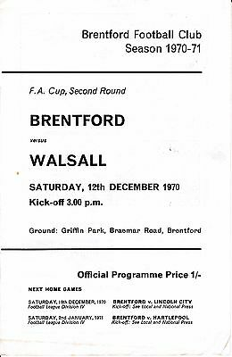 Brentford v Walsall FA Cup 2nd Round 1970/71