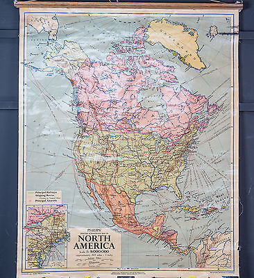 Vintage Philips Schoolroom Map North America USA Drop Down 1957