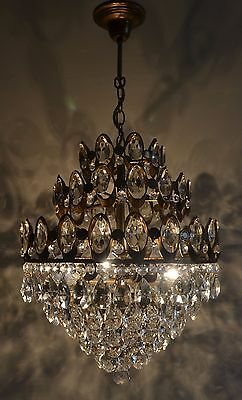 Antique Vintage French Basket Style Brass & Crystals Chandelier Pendant Ceiling