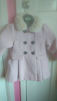 girls coat 3-4 next light pink with fur double breasted