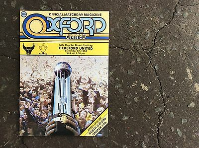Oxford United V Hereford United Football Programme Milk Cup