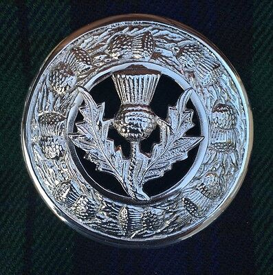 "Celtic Brooch Chrome Finish 3""/Kilt Fly Plaid Pin Brooch Thistle Crest Emblem • EUR 9,86"