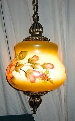 Beautiful Vintage Hand-Painted Glass Floral Themed Pendant. Victorian Chandelier