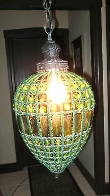 Vintage Victorian Green Crystal Pendant Chandelier.  Bronze Hardware Accents.