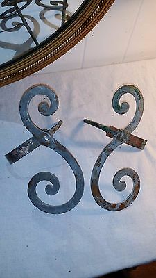 Pair 2 Antique Architectural Wrought Iron Scroll with Copper Stay Shutter Dogs