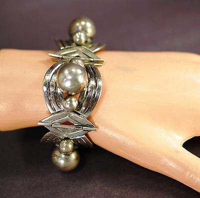 Mexico Silver Vintage Bracelet Linked Panel Ball Motif .925 Handmade Mexican