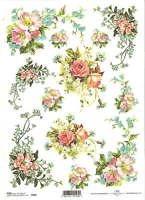 Rice Paper for Decoupage Scrapbooking, Forget-me-not Pink Roses A4 ITD R421