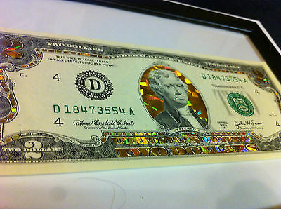 Two $-  Gold  2 Dollar Bill - Hologram  Colorized Legal Note- Gold Gift Money