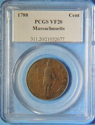 1788 Massachusetts Colonial Copper One Cent PCGS VF20 Very Fine
