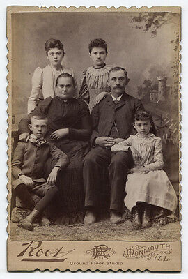 Cabinet Card Large, Lovely Family. Monmouth, Illinois.