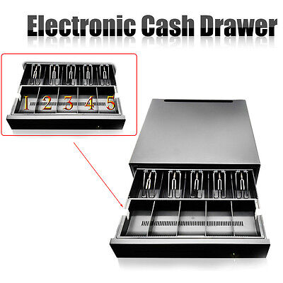 US!Cash Drawer Box Works Compatible Epson/Star POS Printers w/5Bill + 5Coin Tray