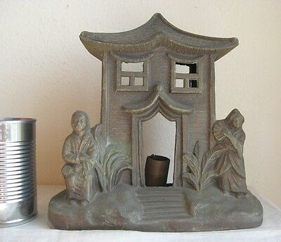 """Asian Japanese Sconce Man & Woman House Metal Potential Candle Holder 9.5"""" Tall"""