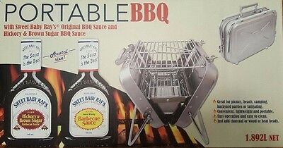 Mini Portable S/Steel BBQ Grill + 2 x Sweet Baby Rays BBQ Sauce Picnic Camping 1