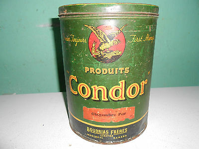 Antique Condor Sugar Tin Old Advertising Can With Lid Nice Graphics & Colour