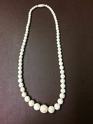 Antique Chinese Hand Carved Bovine Bone Beads Necklace