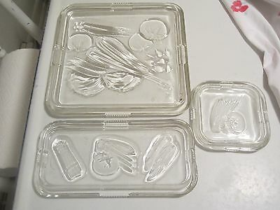 Vintage Glass Lids Set of 3 Vegetable Motif LIDS ONLY, Federal Glass, Covers