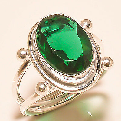 "Chrome Diopside Gemstone 925 Sterling Silver Ring ""7.9"""