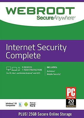 Webroot SecureAnywhere Internet Security COMPLETE 2017, 3 Devices 1Year DOWNLOAD