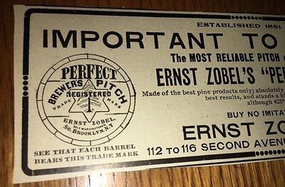 Zobel Brewers Pitch 1907 Beer Ad Brewing Brooklyn New York
