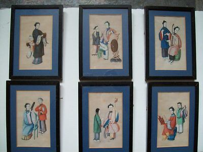 SET OF SIX 19th CENTURY CHINESE RICE/PITH PAPER PAINTINGS - FEMALE MUSICIANS