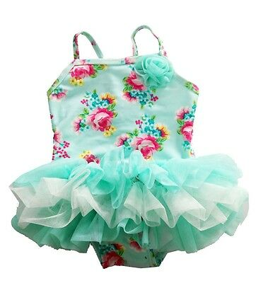 Infant Baby Girls Swimwear One Piece Lace Tutu Floral Green Swimsuit Costume