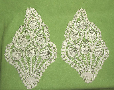 Set 2 Vtg Hand Crocheted Cotton Ivory Peacock Feather Doily DoiliesTable Linen