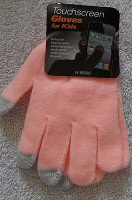 Pink Girls Touch Screen Gloves One Size -Free Postage