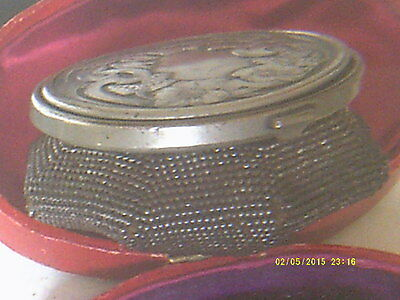 Antique Silver Lidded Purse Expandable,engraved Top And Metal Chain Base