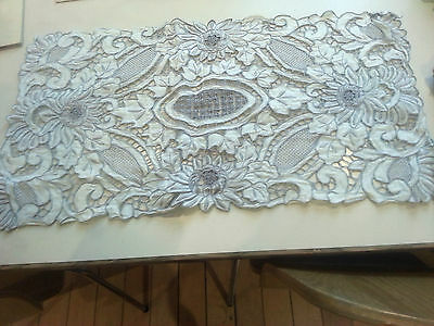 vintage hand embroidered table topper